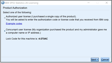 License method choices, with Concurrent user license option and Next