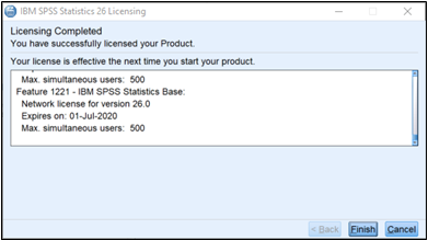 Final license page, showing active licensing for several SPSS modules