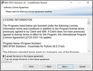 SPSS license agreement with Agree... and Next choices