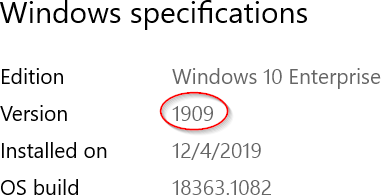 Windows properties panel including the version number