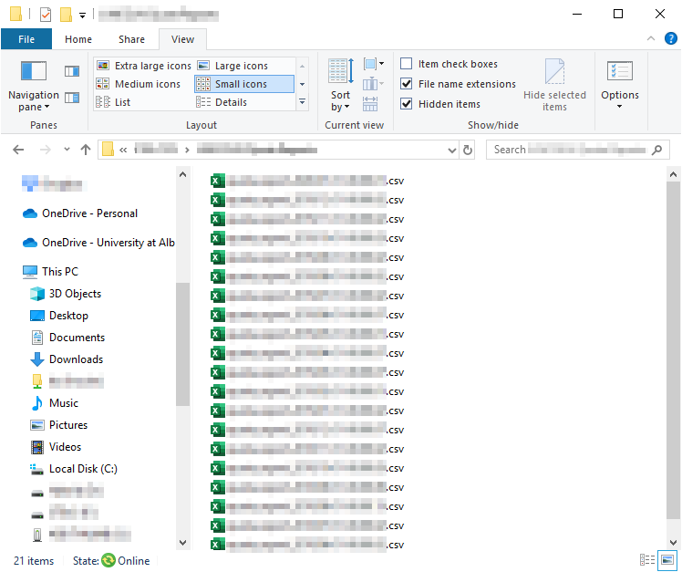 Sample folder containing several files