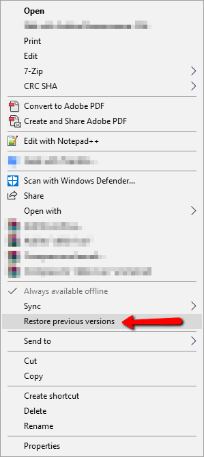 Right-click menu showing Restore Previous Versions choice