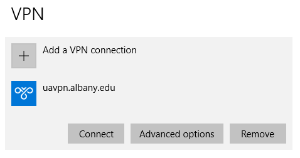 Image showing the new uavpn.albany.edu connection in Settings